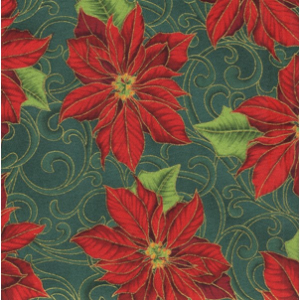 WINTER IN BLOOM - POINSETTIA - GREEN - BY HOFFMAN