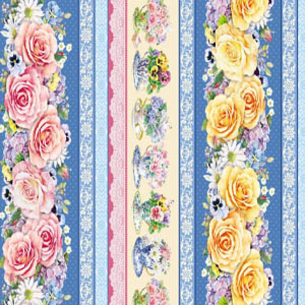 TEACUPS AND ROSES - BORDER STRIPE