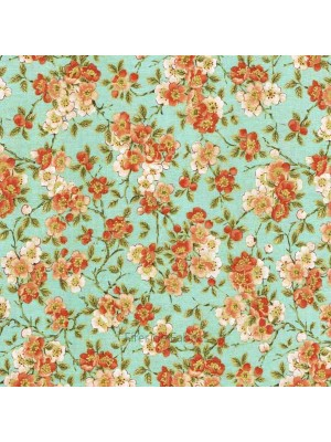 TEA HOUSE - BLOSSOM - TEAL (2 Left)