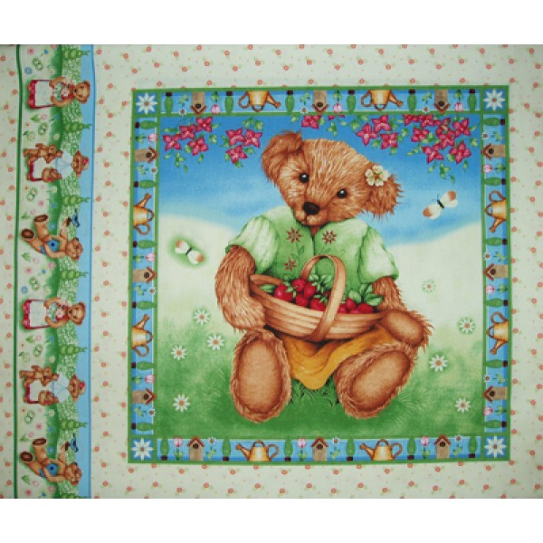 GARDEN BEAR CUSHION PANEL