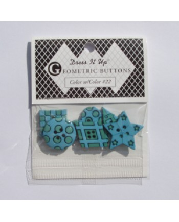 22 - GEOMETRIC BUTTON PACK - BLUE-GREEN