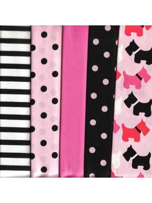 PINK SCOTTIES - 5 FAT QUARTER PACK