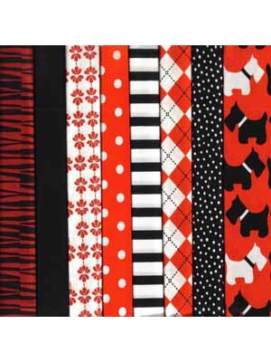 SCOTTIE DOGS - RED - 8 FAT QUARTER PACK