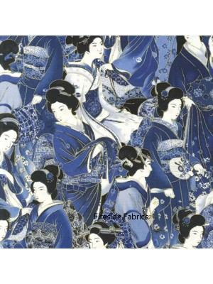 ORIENTAL TRADITIONS - GEISHA CROWD - BLUE