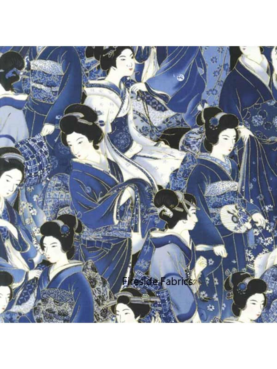 SRKM-14206-62 - ORIENTAL TRADITIONS - GEISHA CROWD - BLUE