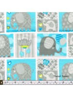HELLO BABY - ELEPHANT BOXES - BRUSHED COTTON - BLUE-GRAY