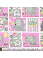 HELLO BABY - ELEPHANT BOXES - BRUSHED COTTON - PINK-GRAY