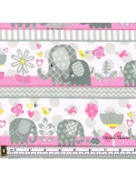 HELLO BABY - ELEPHANT STRIPE - BRUSHED COTTON - PINK-GRAY