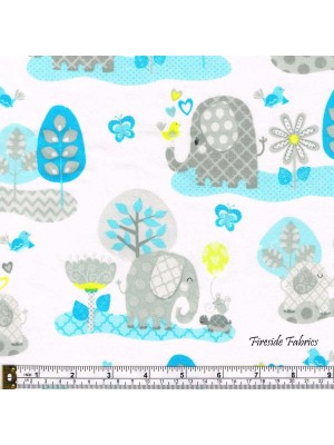 HELLO BABY - ELEPHANTS - BRUSHED COTTON BLUE