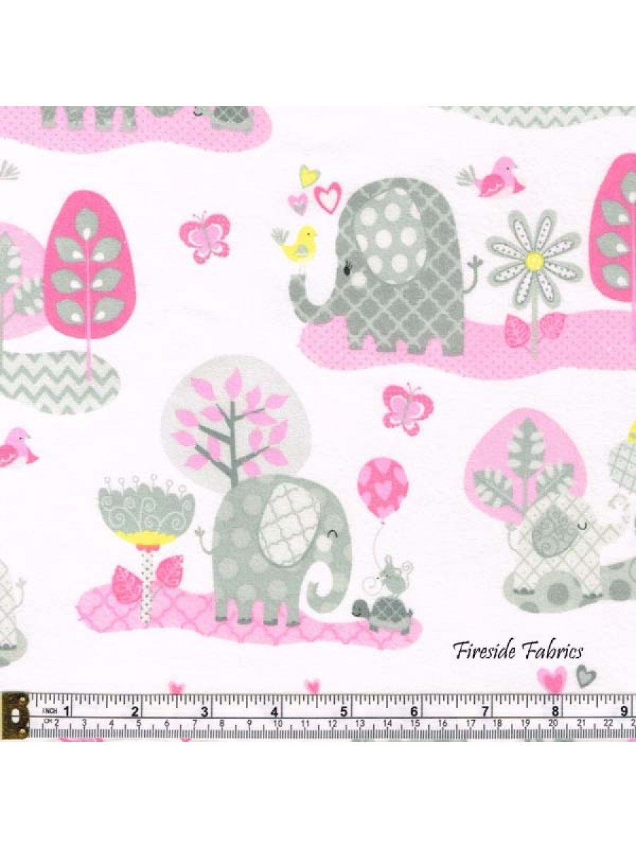 HELLO BABY - ELEPHANTS - BRUSHED COTTON - PINK