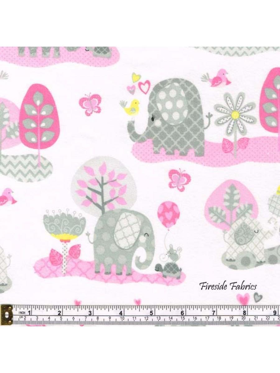 HELLO BABY - ELEPHANTS - BRUSHED COTTON - PINK