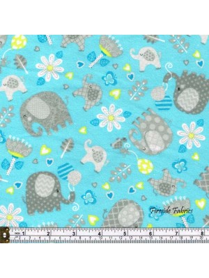 HELLO BABY - SCATTERED ELEPHANTS - BRUSHED COTTON - BLUE