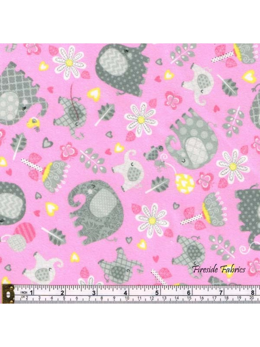 HELLO BABY - SCATTERED ELEPHANTS - BRUSHED COTTON - PINK-GRAY