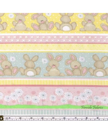 FLUFFY BUNNY - STRIPE - BRUSHED COTTON/FLANNEL PINK-YELLOW