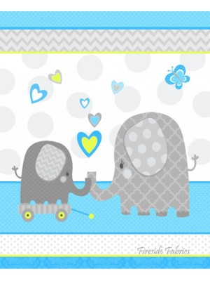 HELLO BABY ELEPHANT COT PANEL - BRUSHED COTTON - BLUE
