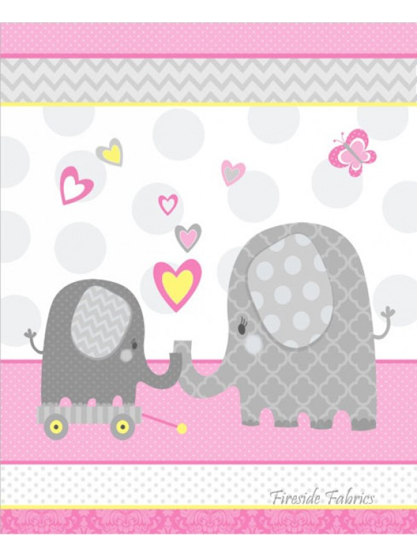 Hello Baby Elephant Cot Panel Brushed Cotton Pink