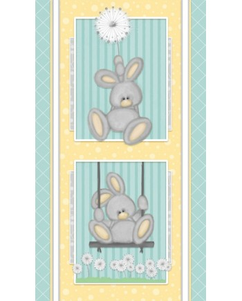 FLUFFY BUNNY PANEL - BRUSHED COTTON/FLANNEL - AQUA