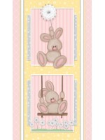 FLUFFY BUNNY PANEL - BRUSHED COTTON/FLANNEL - PINK