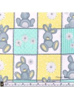 FLUFFY BUNNY SQUARES - BRUSHED COTTON/FLANNEL - AQUA-YELLOW