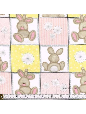 FLUFFY BUNNY SQUARES -BRUSHED COTTON/FLANNEL -  PINK-YELLOW