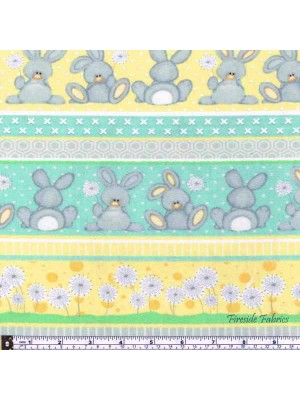 FLUFFY BUNNY STRIPE - AQUA-YELLOW - BRUSHED COTTON