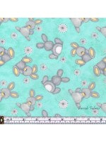FLUFFY BUNNY- SCATTERED-BRUSHED COTTON/FLANNEL - AQUA
