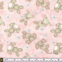 FLUFFY BUNNY - SCATTERED- BRUSHED COTTON/FLANNEL PINK