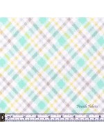 FLUFFY BUNNY CHECK - BRUSHED COTTON/FLANNEL AQUA