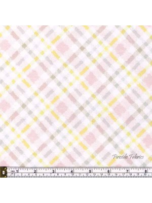 FLUFFY BUNNY CHECK - BRUSHED COTTON/FLANNEL PINK