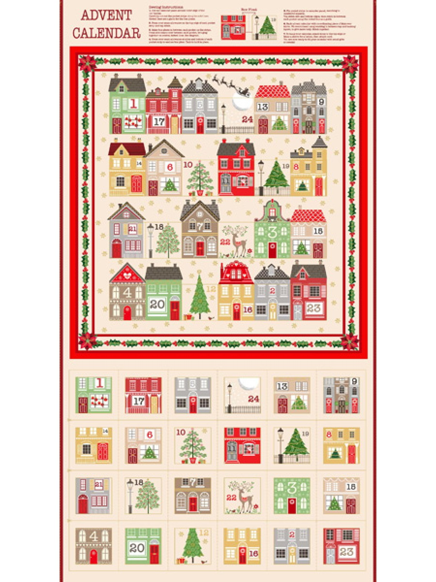 SILENT NIGHT FABRIC ADVENT CALENDAR PANEL