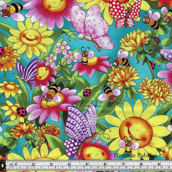 PIXIE PATCH - SUNFLOWERS AND BUTTERFLIES - TURQUOISE