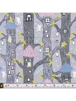 FAIRY LIGHTS - FAIRY HOUSES - GREY - GLOW IN THE DARK FABRIC