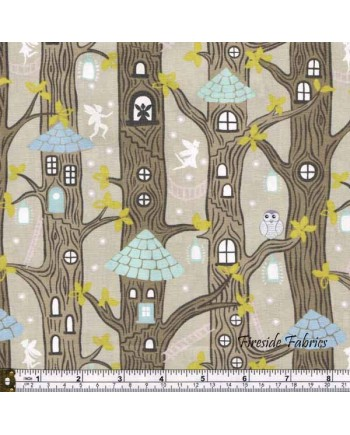 FAIRY LIGHTS - FAIRY HOUSES - NATURAL - GLOW IN THE DARK FABRIC