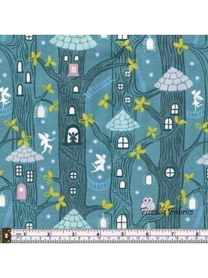 FAIRY LIGHTS - FAIRY HOUSES - DUSKY GREEN - GLOW IN THE DARK FABRIC