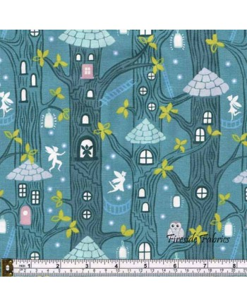FAIRY LIGHTS - FAIRY HOUSES - DUSKY GREEN - GLOW IN THE DARK FABRIC