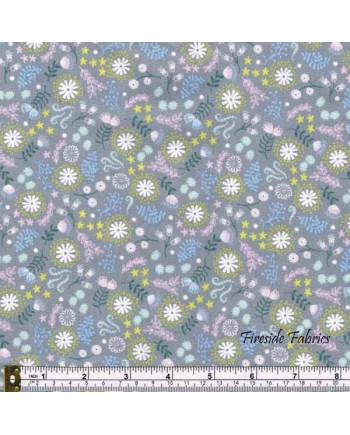 FAIRY LIGHTS - MAGICAL FLOWERS - GREY - GLOW IN THE DARK FABRIC