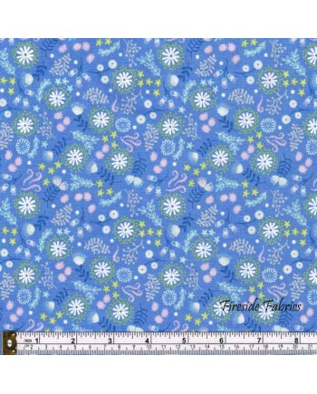 FAIRY LIGHTS - MAGICAL FLOWERS -DUSKY BLUE - GLOW IN THE DARK FABRIC