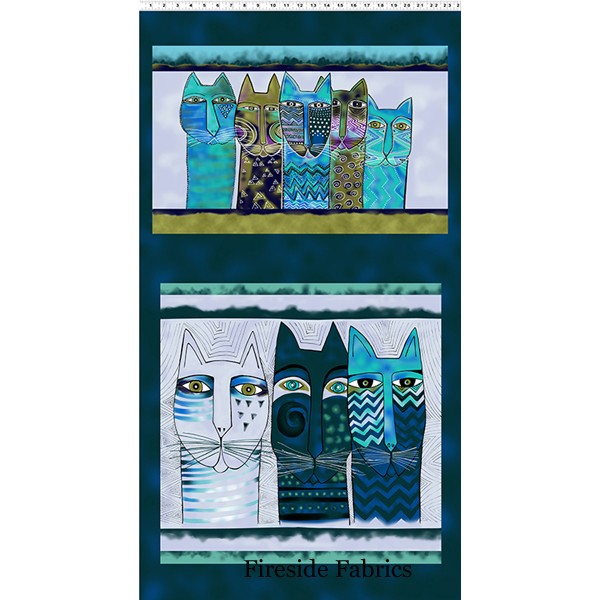 FELINE FROLIC - PILLOW PANEL - DARK TEAL