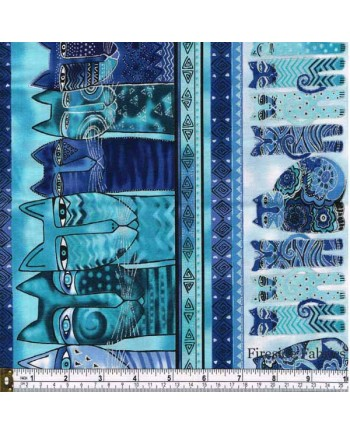 FELINE FROLIC - STRIPE - BLUE