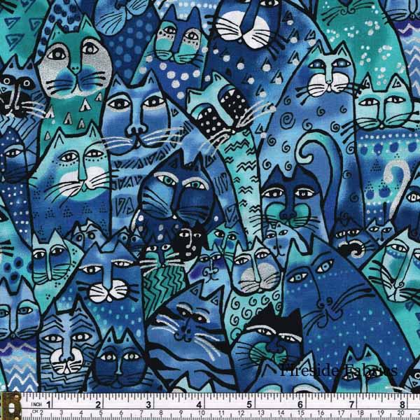 FELINE FROLIC - PACKED CATS -BLUE
