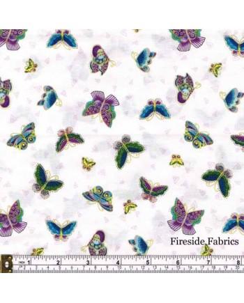 FELINE FROLIC - BUTTERFLIES - WHITE