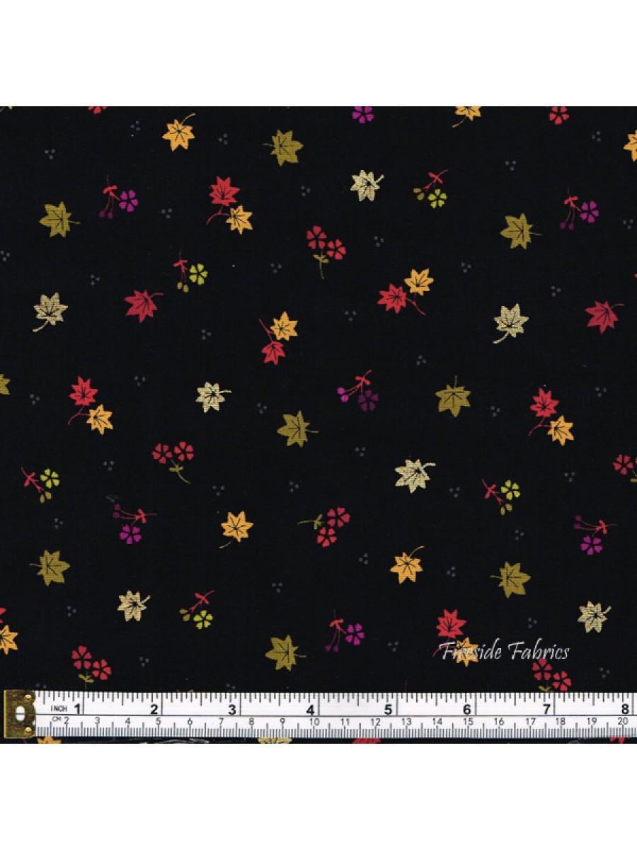 KIMONO - MAPLE LEAVES - BLACK