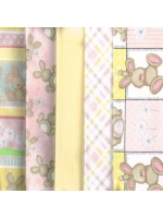 FLUFFY BUNNY - 5 FAT QUARTER PACK - BRUSHED COTTON - PINK
