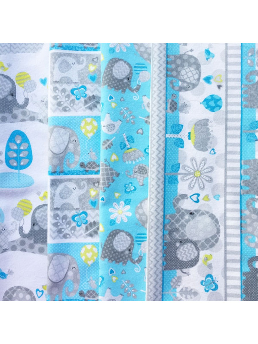 HELLO BABY- 4 FAT QUARTER PACK - BRUSHED COTTON - BLUE