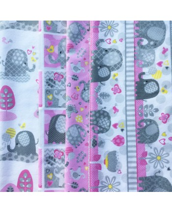 HELLO BABY - 4 FAT QUARTER PACK - BRUSHED COTTON - PINK