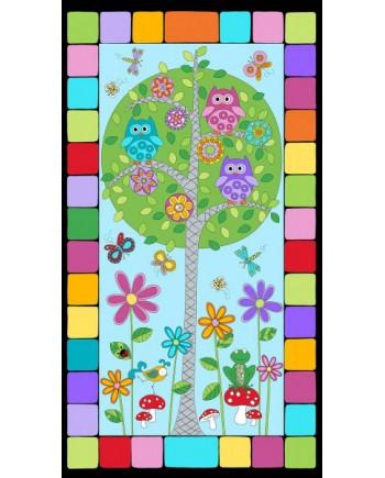 HOOT HOOT FAMILY TREE PANEL - BLUE