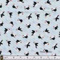 SMALL THINGS - BY THE SEA - PUFFINS ON LIGHT GREY