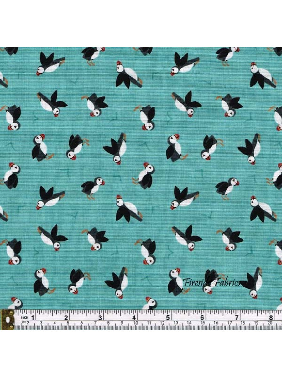 SMALL THINGS - BY THE SEA - PUFFINS ON AQUA BLUE