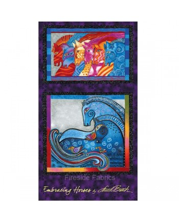 EMBRACING HORSES PANEL - PURPLE