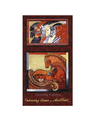EMBRACING HORSES - PANEL - BRICK